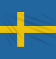 flag sweden swaying in wind realistic vector image