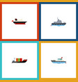 flat icon boat set of sailboat tanker cargo and vector image
