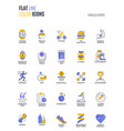flat line multicolor icons design-fitness and vector image vector image