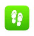 flip flop sandals icon digital green vector image