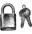 hand drawings a lock and keys vector image