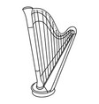 hand drawn harp doodle icon isolated on white vector image