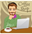 handsome hipster man with laptop in coffee shop vector image vector image