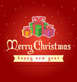 happy christmas on red background vector image