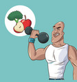 healthy man athletic weight food diet vector image