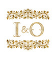 i and o vintage initials logo symbol the letters vector image vector image