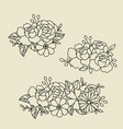line style floral bouquet borders flowers vector image vector image