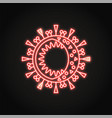 neon coronavirus cell icon in line style vector image