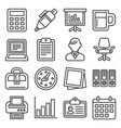 office supplies icons set on white background vector image vector image