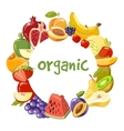 organic fruits frame isolated vector image vector image