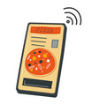 pizzeria phone application with menu and prices vector image
