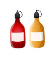 plastic bottle ketchup and mustard sauce for vector image vector image