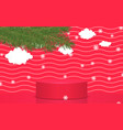 red podium with christmas tree in studio room vector image vector image