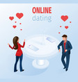 romantic couple with smartphones restaurant table vector image vector image