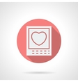 Round pink love photo flat icon vector image vector image