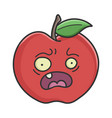 scared red apple cartoon apple vector image vector image