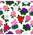 seamless pattern garden flowers bouquets vector image