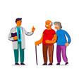 senior patients and doctor volunteers help vector image