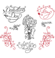 set elements for valentine day vector image
