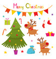 set of cute deers christmas elements vector image vector image