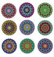 set ornament circular mandala colored ornamental vector image
