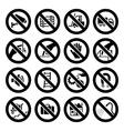 set prohibited symbols industrial hazard black sig vector image vector image