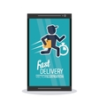 Smartphone and deliver man icon Fast delivery vector image vector image