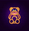 teddy bear neon sign vector image