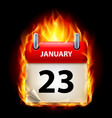 twenty-third january in calendar burning icon on vector image vector image