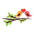 two cute birds with heart on leafy branch card for vector image vector image