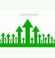 upward moving growth green arrow business vector image