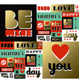 Valentines day retro gold pattern label quote vector image
