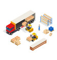 warehouse vehicular loading composition vector image vector image
