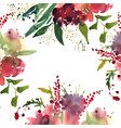 watercolor flowers in frame hand drawn for print vector image vector image