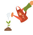watering can holding in hand man watering vector image