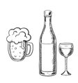 Wine glass bottle and beer tankard vector image vector image