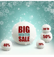 winter sale background with snowballs vector image vector image