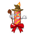 witch christmas candle combined with pita cartoon vector image vector image
