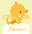 yellow rubber duck toy foam bathroom vector image