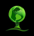 abstract green tree with earth globe world symbol vector image