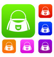 bag set color collection vector image vector image
