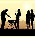 barbecue poster with people silhouettes and grill vector image vector image