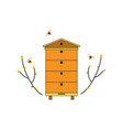 beehive icon with bees and tree branches forest vector image