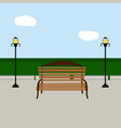 bench and streetlight vector image vector image
