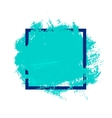 blue watercolor blot in square frame vector image