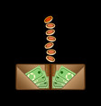 brown wallet with green paper money and coins vector image vector image