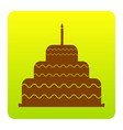 cake with candle sign brown icon at green vector image vector image