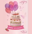 card with cute strawberry birthday cake image vector image