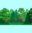 cartoon deer in forest landscape deers in woods vector image