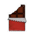 chocolate bar bitten in packaging blank vector image